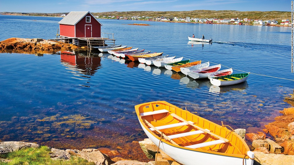 "For a traditional Newfoundland and Labrador fishing port experience, you can't beat Fogo Island. The largest island on Newfoundland and Labrador's vast coast, it's home to 11 <a href=""http://www.townoffogoisland.ca/home/2"" target=""_blank"">communities and was first settled by the Irish in the 18th century. </a><a href=""http://www.townoffogoisland.ca/home/2"" target=""_blank""><em><br />More info: Townoffogoisland.ca</a></em>"