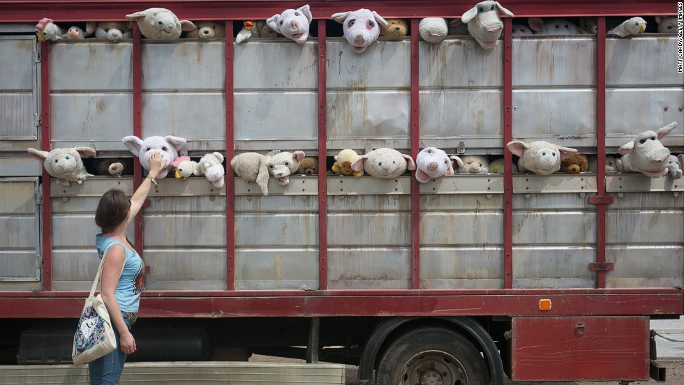 "Local boy and acclaimed mystery artist Banksy made the UK debut of his mobile work<em> The Sirens of the Lambs</em>, depicting a truck full of shrieking cuddly animals being driven to slaughter.<br /> <br /> Asked for a comment, festival organizer Michael Eavis said: ""Is it some kind of animal rights thing? I'm not sure about it. Our cows are actually very happy, they have the highest milk yield in the County."""