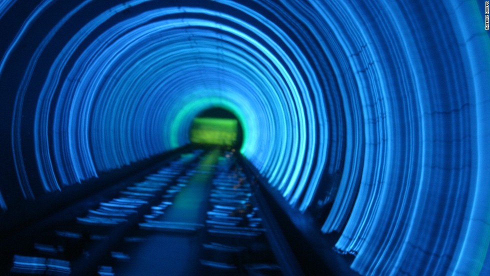 A company that had worked with Disney was originally supposed to help design Shanghai's Bund Sightseeing Tunnel. Instead, a local firm created the tunnel's psychedelic lights and trippy audio-visual effects. <strong>Length: </strong>646.7 meters