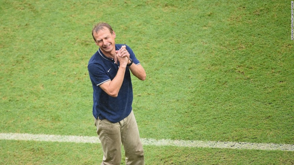 Klinsmann pleads with the fourth official on the touchline during the 2-1 victory over Ghana.