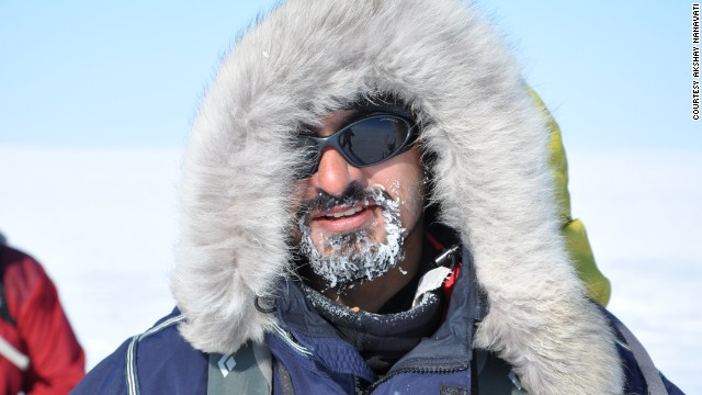 """On some days my entire beard would be covered in ice,"" Nanavati says of his Greenland trip."