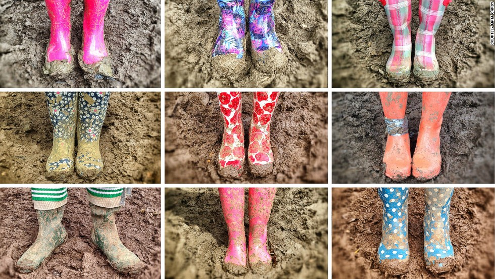 Of course Westwood wasn't the only one to sport eye-catching welly-wear. In a land where the roads run thick with mud, they with the luminous wellingtons reign supreme.
