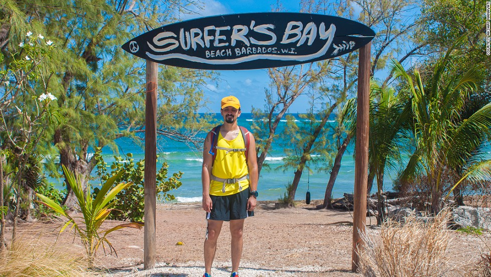 Nanavati's latest run took place in the Caribbean in June 2014. This is a picture from Barbados.