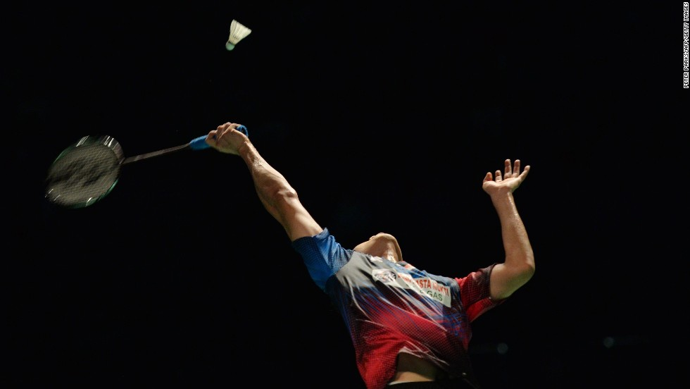 Simon Santoso hits a return to Lin Dan in the men's final of the Australian Badminton Open on Sunday, June 29. Lin, a two-time Olympic champion from China, won the match in Sydney.