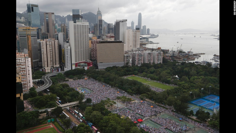 Tens of thousands of people gathered in Hong Kong's Victoria Park before the march begins.
