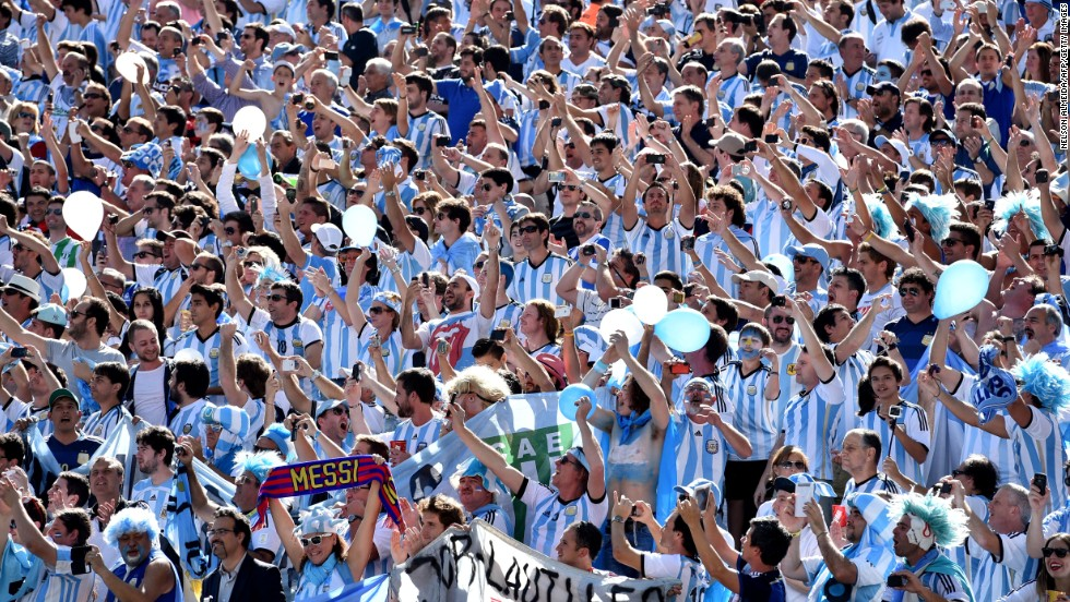 Argentina supporters cheer before the start of the match.