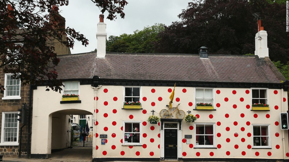 A pub in Yorkshire is decorated in King of the Mountains polka dots. The polka dots refer to the leader of the mountains competition as they wear a distinctive polka dot jersey throughout the competition.
