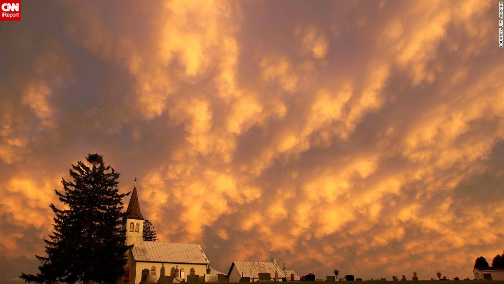 "Jim Jorstad felt he was ""in another world"" when he looked up and saw <a href=""http://ireport.cnn.com/docs/DOC-1148956"">these heaping cloud formations</a> in late June from the Mississippi River shore in LaCrosse, Wisconsin. The rolling clouds are known as mammatus clouds and typically associated with strong thunderstorms, according to the National Weather Service."