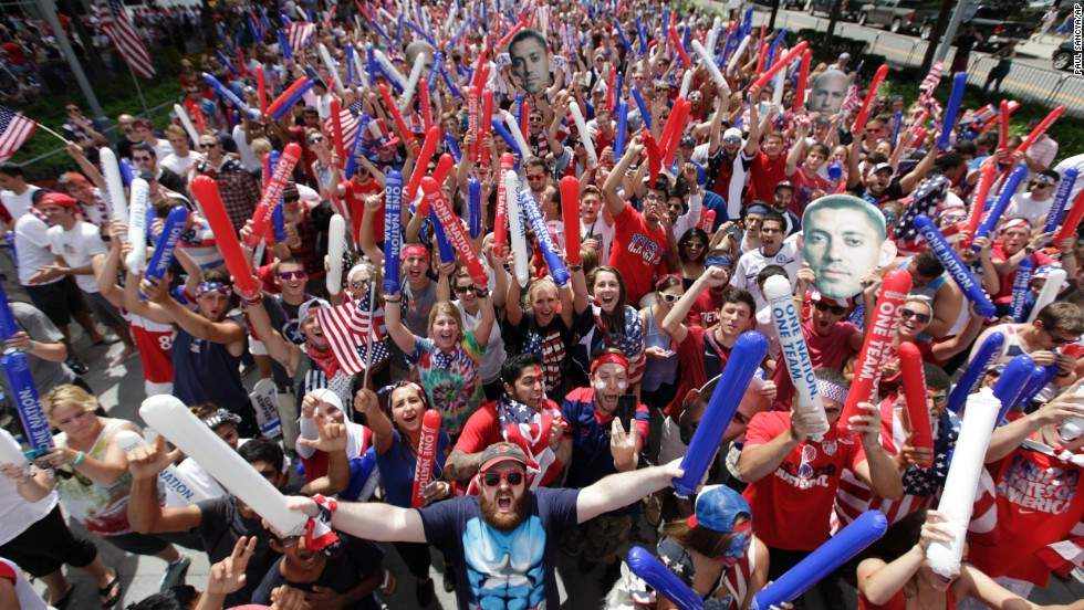 U.S. fans cheer at a public viewing party in Detroit.