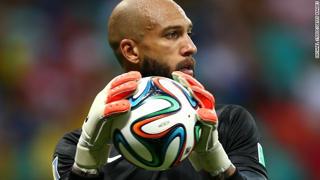 SALVADOR, BRAZIL - JULY 01: Goalkeeper Tim Howard of the United States controls the ball during the 2014 FIFA World Cup Brazil Round of 16 match between Belgium and the United States at Arena Fonte Nova on July 1, 2014 in Salvador, Brazil. (Photo by Michael Steele/Getty Images)