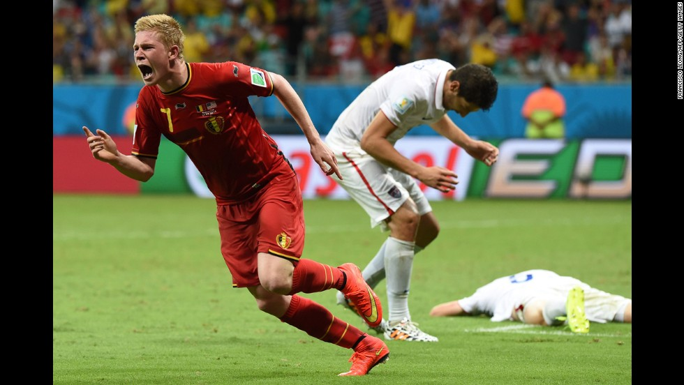 Belgium midfielder Kevin De Bruyne celebrates after scoring a goal in extra time to take a 1-0 lead over the United States. All three of the game's goals were scored in extra time.