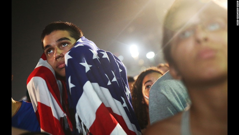 U.S. fans watch the match in Rio de Janeiro.