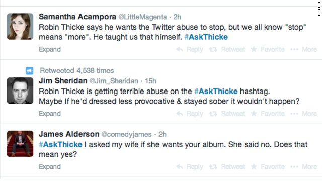 A sample of the #AskThicke Q&A from Twitter.