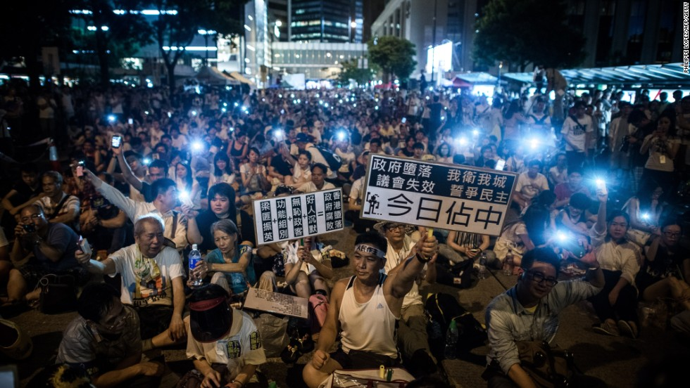 Demonstrators staged a sit-in on Chater Road in Central district after the march.