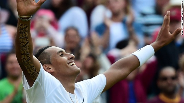 Australia's Nick Kyrgios celebrates winning his men's singles fourth round match against Spain's Rafael Nadal.