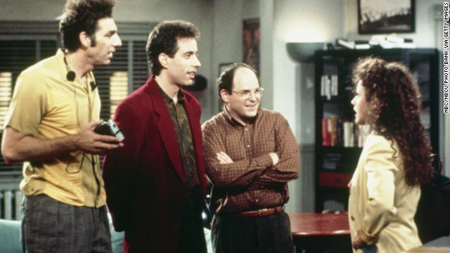 SEINFELD -- Pictured: (l-r) Michael Richards as Cosmo Kramer, Jerry Seinfeld as Jerry Seinfeld, Jason Alexander as George Costanza, Julia Louis-Dreyfus as Elaine Benes  (Photo by NBC/NBCU Photo Bank via Getty Images)