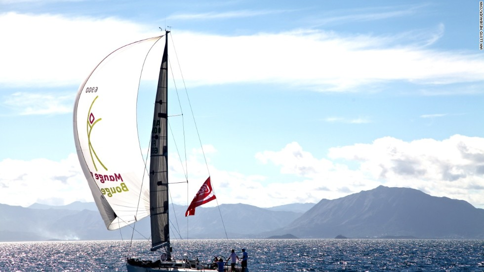 Each June, monohulls and catamarans sail out of Noumea's Port Moselle to compete for glory in the Great Lagoon Regatta.