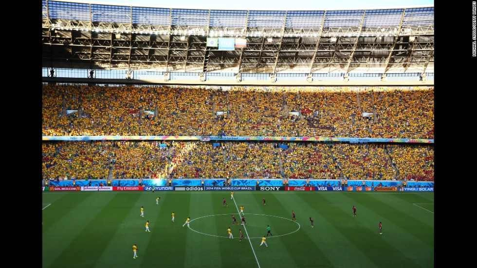 The stadium in Fortaleza was filled with fans wearing yellow, the primary color of both teams.