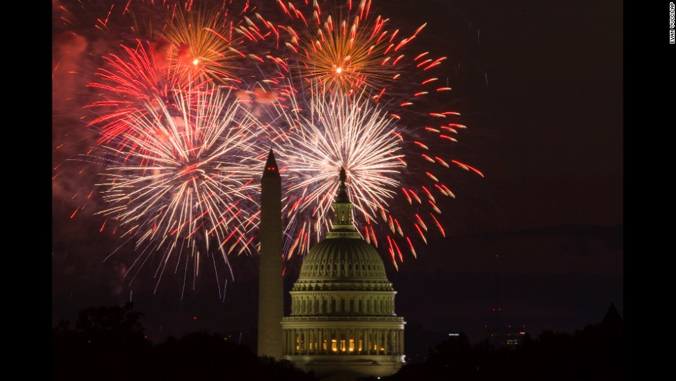 Fireworks illuminate the sky over the U.S. Capitol and the Washington Monument during celebrations on July 4.