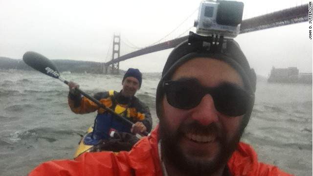 Me and John Dye, of Rivers for Change, at the Golden Gate Bridge on Friday.
