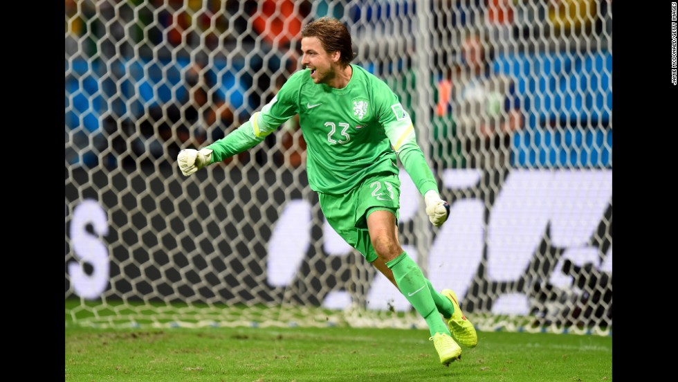 Goalkeeper Tim Krul of the Netherlands celebrates after making a save on a penalty kick by Michael Umana of Costa Rica.