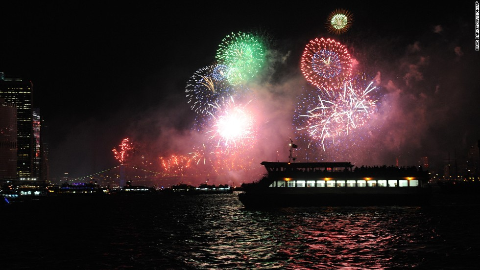 Macy's Fourth of July fireworks are seen from a Circle Line cruise ship in New York.