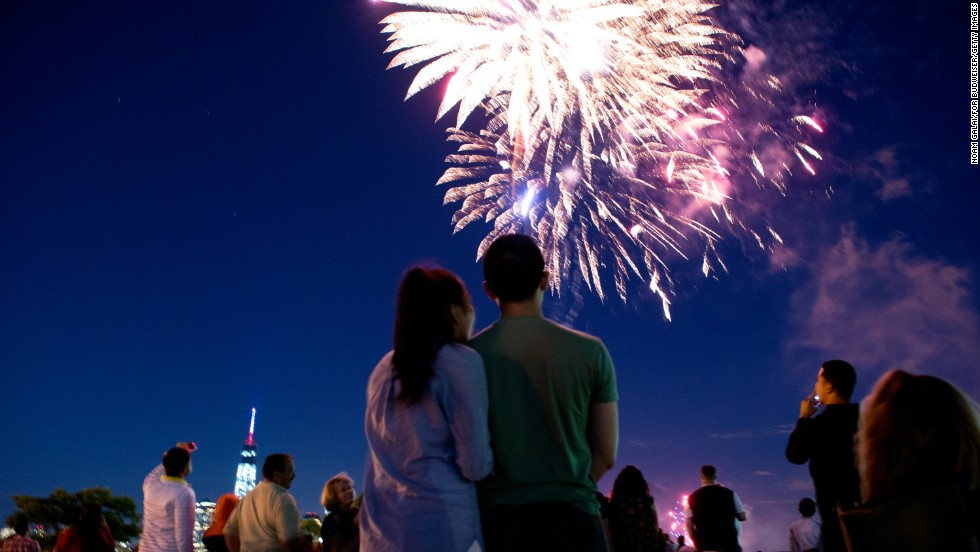 Fireworks dazzle the sky as part of the Jersey City Freedom & Fireworks Festival in Liberty State Park, New Jersey.
