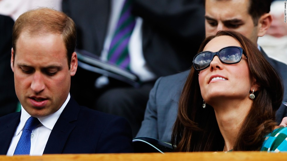 Prince William Duke of Cambridge and Catherine, Duchess of Cambridge watch the action from the Royal Box on Centre Court.
