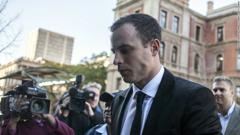 Pistorius arrives at court in Pretoria on Monday, July 7.