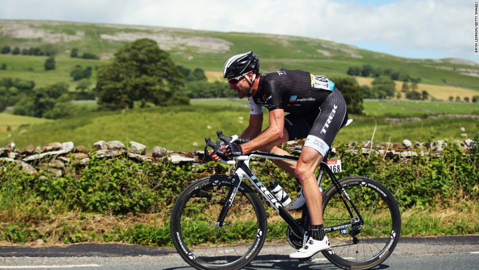 Veteran racer Voigt led the pack in a breakaway during the first stage of the race which began in Leeds and ended in Harrogate.