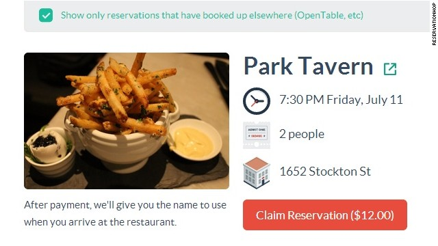 For $12, news startup ReservationHop will sell San Francisco diners a reservation that it has booked using a fake name.