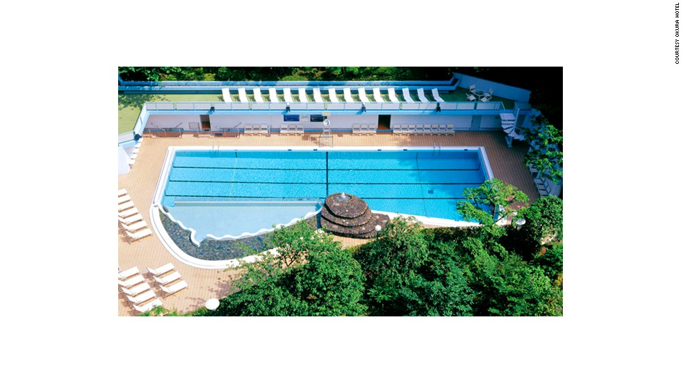 Hotel Okura's outdoor swimming pool was designed by sculptor Tsutomu Hiroi to be an oasis within the bustling city of Tokyo.