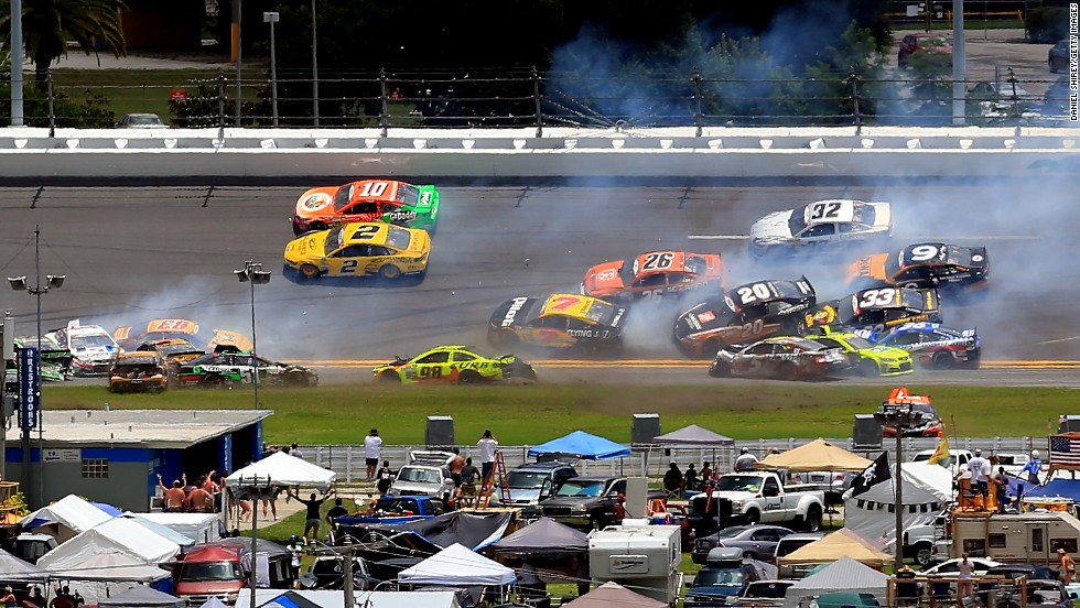 Numerous cars get caught in wreck Sunday, July 6, during the NASCAR Sprint Cup race at Daytona International Speedway.