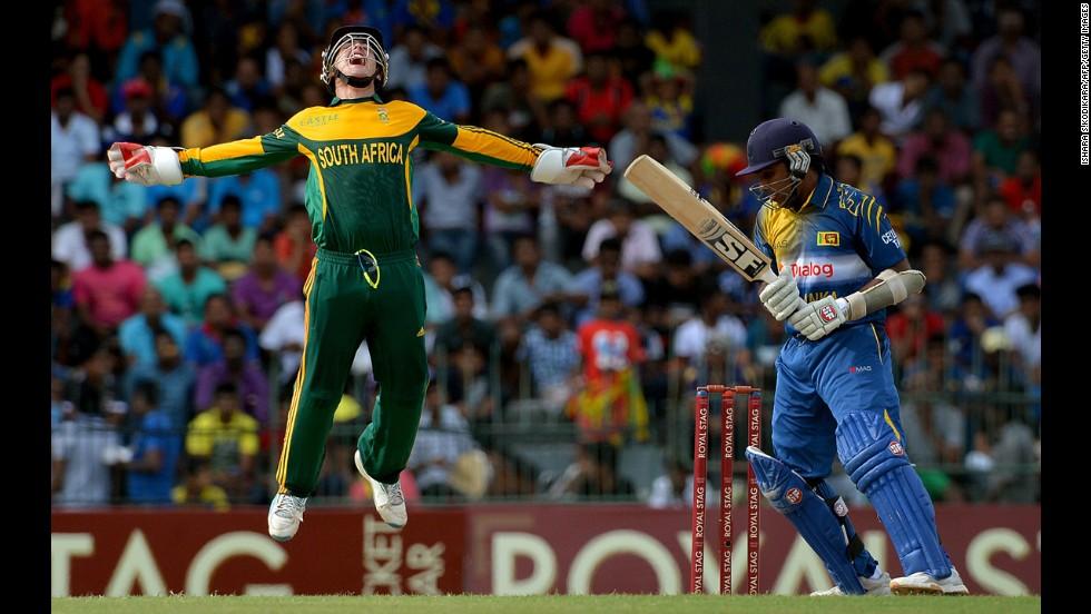 South African wicketkeeper Quinton de Kock, left, celebrates after dismissing Sri Lanka's Mahela Jayawardene during a One Day International cricket match Sunday, July 6, in Colombo, Sri Lanka. South Africa won by 75 runs.