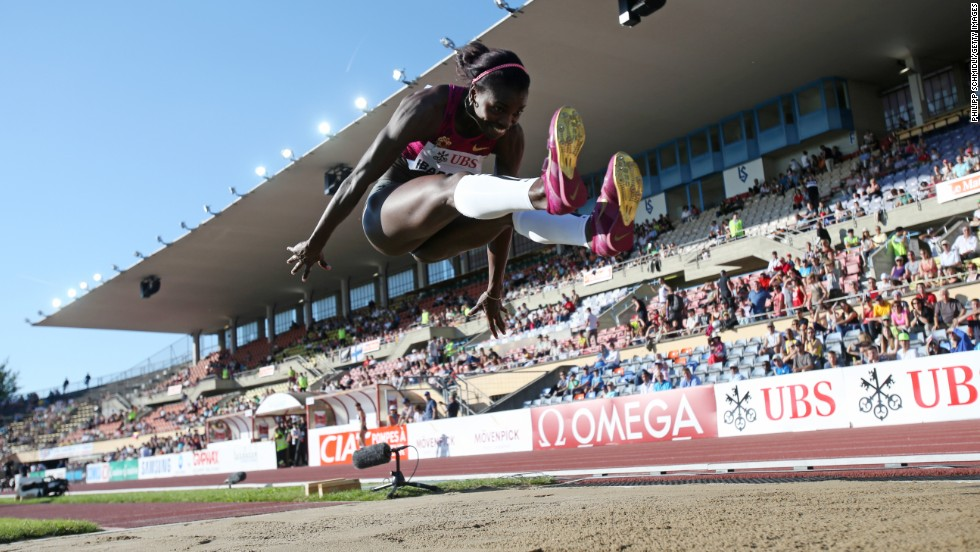Caterine Ibarguen of Colombia competes in the triple jump Thursday, July 3, at the IAAF Diamond League event in Lausanne, Switzerland. She won with a leap of 14.87 meters (48.79 feet).