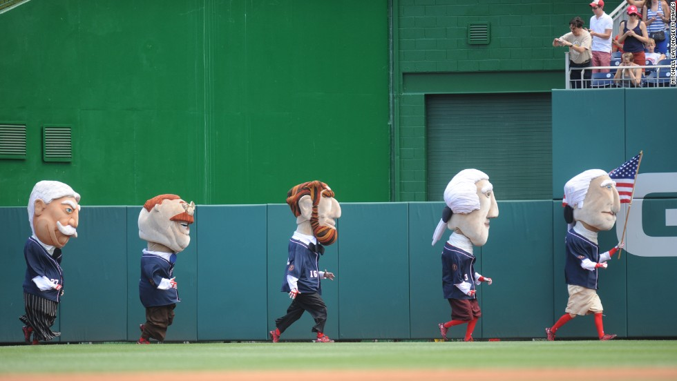 The traditional Presidents Race takes place Friday, July 4, between innings of a Washington Nationals baseball game. From right to left are caricatures of five former U.S. Presidents: George Washington, Thomas Jefferson, Abraham Lincoln, Teddy Roosevelt and William Howard Taft. They race at every Nationals home game.