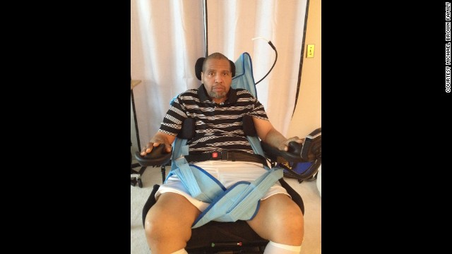 Michael  Brown was in the wrong place at the wrong time. A bullet left him a quadriplegic.