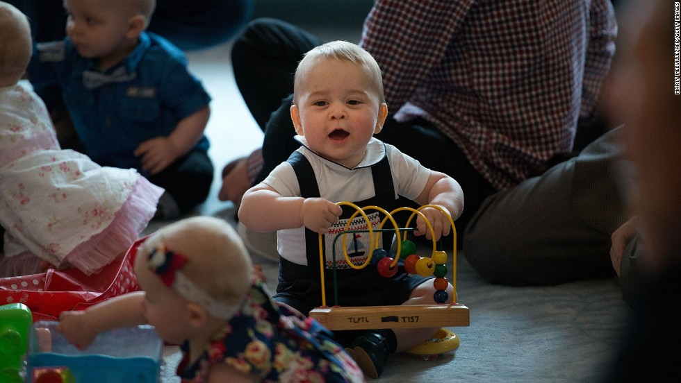 George plays with toys during a visit to the Government House in Wellington, New Zealand, on April 9.