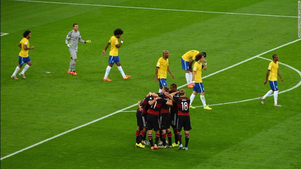 German players celebrate their fifth goal.