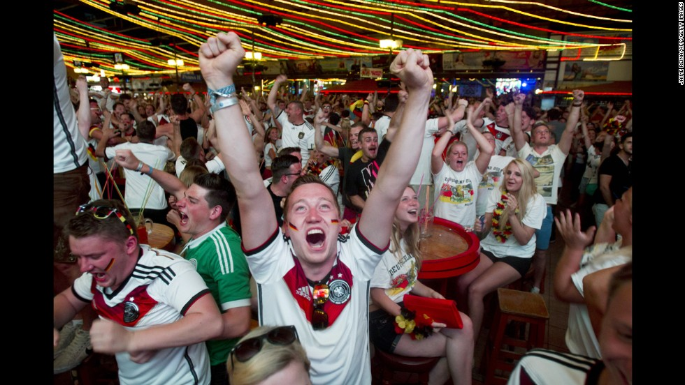 Germany fans celebrate a goal in Palma de Mallorca, Spain.