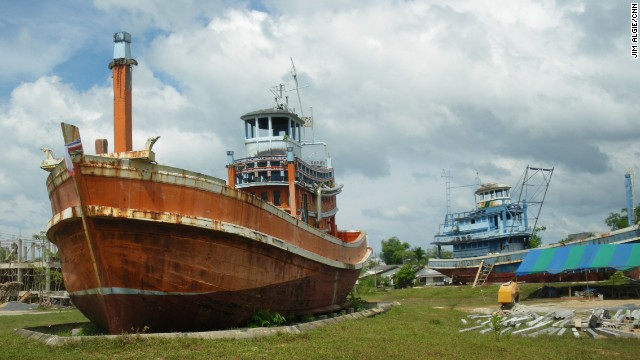 In Ban Nam Khem, two fishing trawlers commemorate Thailand's tsunami victims.