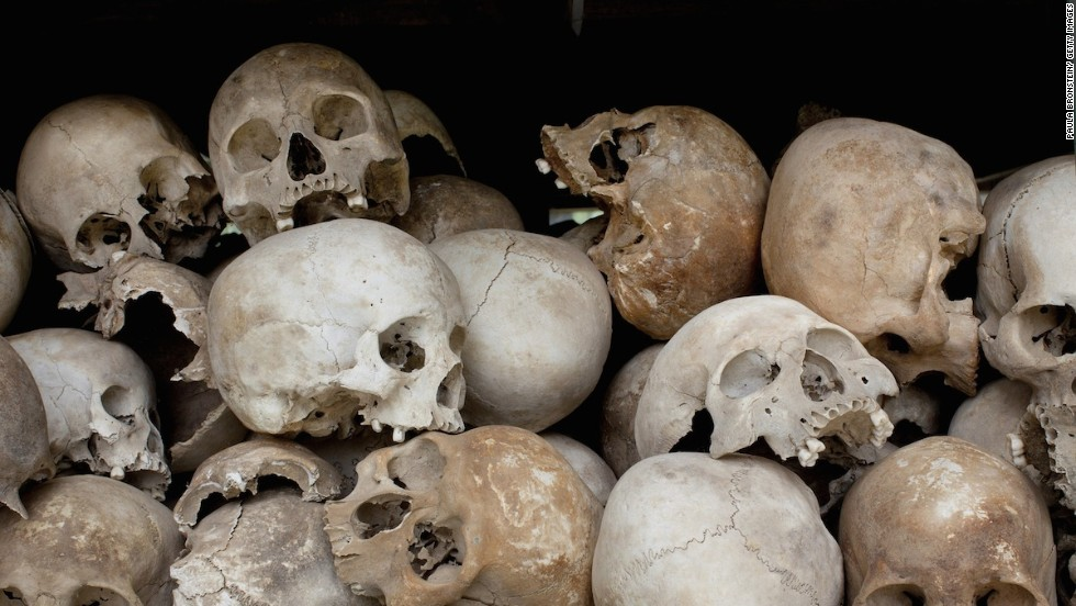 Some of the 8,000 human skulls at the Choeung Ek Genocidal Center sit in a glass case.
