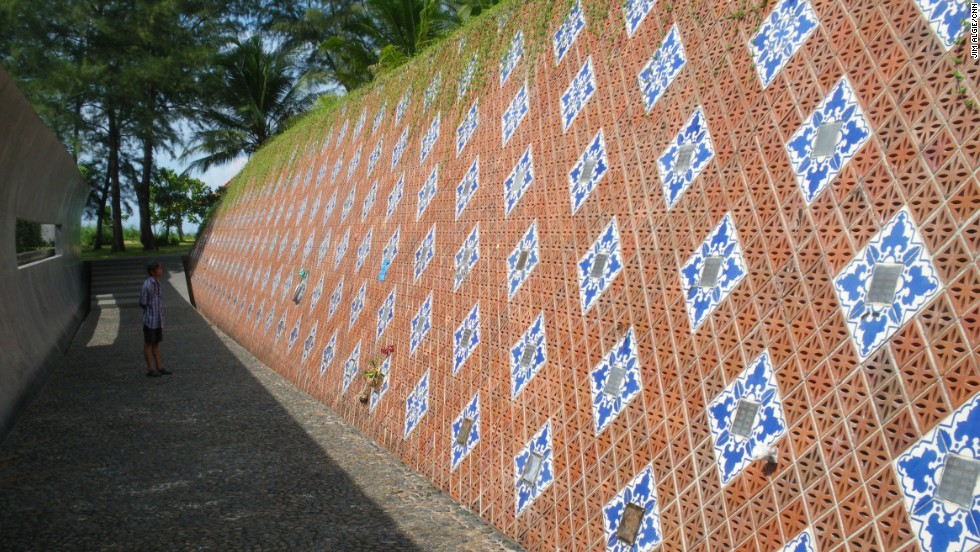 A wave-shaped tsunami memorial at Ban Nam Khem, one of Thailand's worst-affected villages when a tsunami struck on December 26, 2004, is located 130 kilometers north of Phuket.
