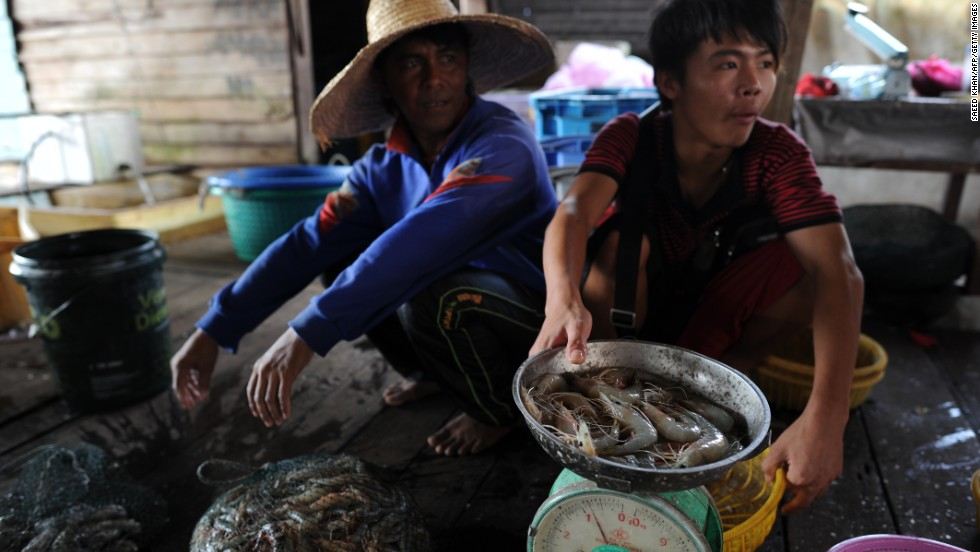 About 1 billion people, mainly in developing countries, rely on fish as their primary animal protein source. This photo shows workers at a wholesale market in Tanjung Karang, a fishing village in Malaysia.