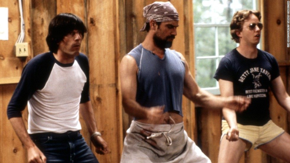 "The 2001 spoof ""Wet Hot American Summer"" is a fun look at how camp counselors can learn the same lessons in friendship, love and life as their charges. Pictured: Michael Showalter, Christopher Meloni, A.D. Miles. Click through the gallery for more on-screen camp experiences."