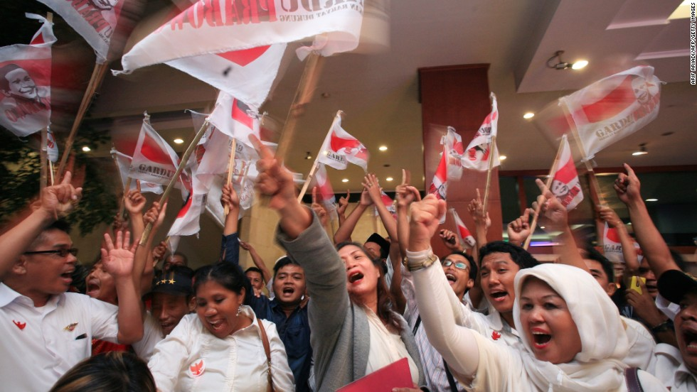Supporters of Indonesian presidential candidate Prabowo Subianto gather inside a convention center in Jakarta on July 9.