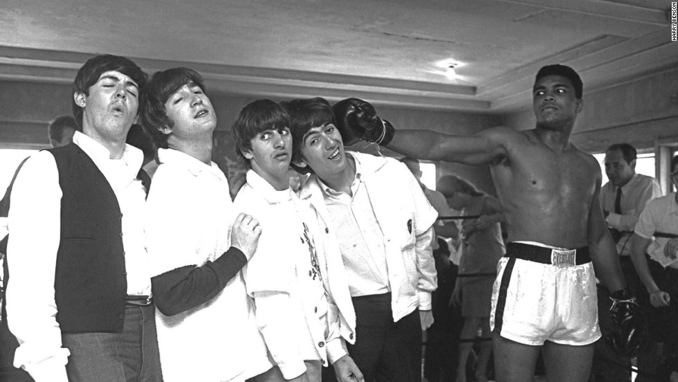 While in Miami, the Beatles meet Cassius Clay, the boxing champion who later became Muhammed Ali, in 1964.