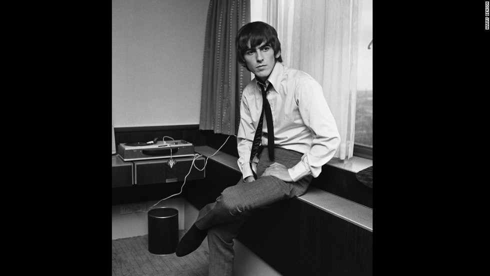 George Harrison at a hotel in Copenhagen, Denmark, in 1964.