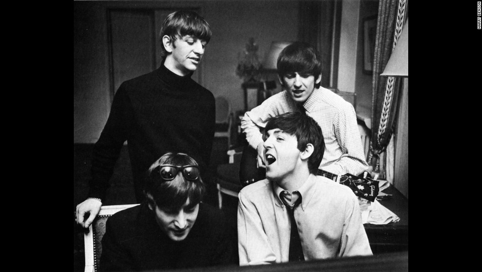 The Beatles compose music at a hotel in Paris in 1964.
