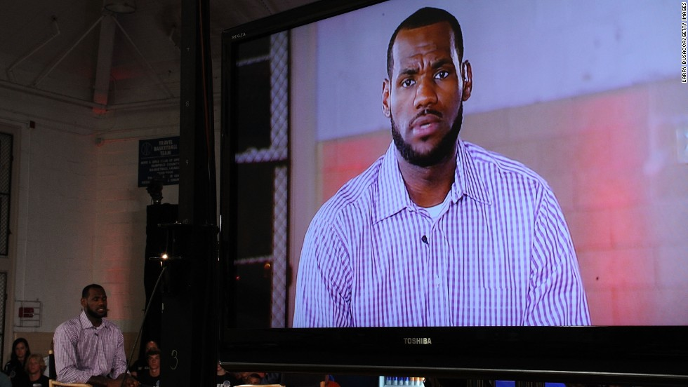 "In July 2010, James speaks at the Boys & Girls Club in Greenwich, Connecticut. It was there that he announced, live on an ESPN program called ""The Decision,"" that he would be leaving Cleveland to play for the Miami Heat."